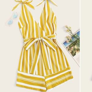 Yellow Stripped Romper